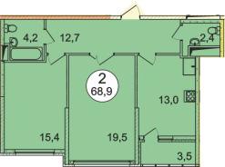 Планировка Двухкомнатная квартира площадью 68.9 кв.м в ЖК «Донской»