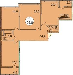 Планировка Трёхкомнатная квартира площадью 95.8 кв.м в ЖК «Донской»