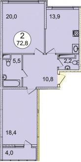 Планировка Двухкомнатная квартира площадью 72.8 кв.м в ЖК «Донской»