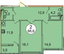 Планировка Двухкомнатная квартира площадью 66.6 кв.м в ЖК «Донской»