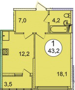 Планировка Однокомнатная квартира площадью 43.2 кв.м в ЖК «Донской»