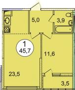 Планировка Однокомнатная квартира площадью 45.7 кв.м в ЖК «Донской»